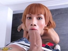 Beautiful Asian Mo takes a huge Ramon cock!